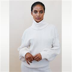 ME&B WHITE COWL NECK CABLE KNIT TOP