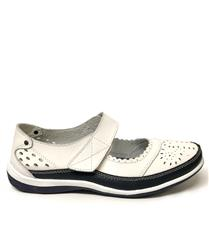 JOLIE WHITE NAVY LEATHER CUT OUT DETAIL SHOES