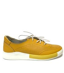 JOLIE YELLOW LEATHER LACE-UP SNEAKER