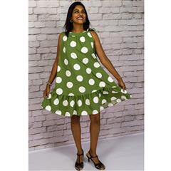CALYPSO GREEN SPOT TIE NECK TRAPEZE DRESS
