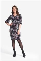JOSEPH RIBKOFF FLORAL DRESS WITH RUFFLE SLEEVES
