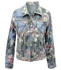 MADE IN ITALY DENIM FLORAL REVERSIBLE JACKET