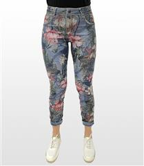 MADE IN ITALY DENIM FLORAL REVERSIBLE JEANS
