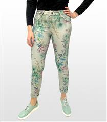 MADE IN ITALY MINT FLORAL REVERSIBLE JEANS