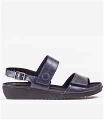 FROGGIE NAVY PEARL LEATHER DOUBLE BAND REMOVABLE FOOTBED SANDAL