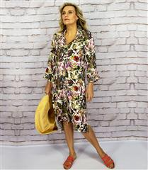CALYPSO ORCHID BUTTON DRESS