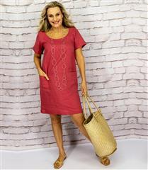 CALYPSO BERRY LINEN SHIFT DRESS