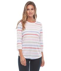 FRENCH DRESSING JEANS COLOUR STRIPE TOP WITH BACK BUTTON DETAIL