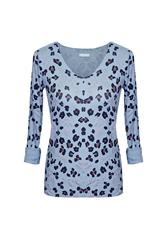 MADE IN ITALY L/S LEOPARD TOP - BLUE