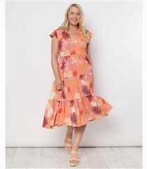 THREADZ ORANGE PRINT DRESS