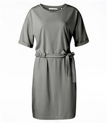 YAYA BROWN JERSEY DRESS WITH WRINKLED WAIST CORD