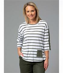 YARRA TRAIL GREEN RELAXED STRIPE TOP