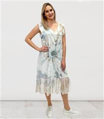 MADE IN ITALY BLUE LINEN & SILK TYE DIE DRESS
