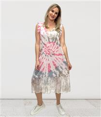 MADE IN ITALY PINK LINEN & SILK TYE DIE DRESS