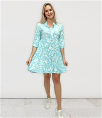 MADE IN ITALY TURQUOISE FRILL SHORT PRINT DRESS