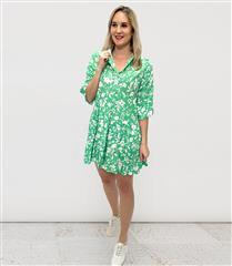 MADE IN ITALY GREEN FRILL SHORT PRINT DRESS