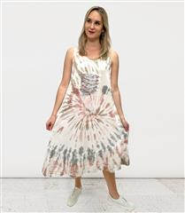 MADE IN ITALY PINK COTTON KNIT TIE DYE DRESS