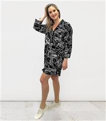MADE IN ITALY BLACK & WHITE BUTTON-UP COLLAR DRESS
