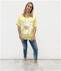 MADE IN ITALY YELLOW LINEN SUNFLOWER GRAPHIC TOP