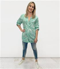 MADE IN ITALY TURQUOISE FOIL PRINT SHIRT