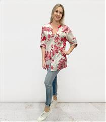 MADE IN ITALY RED & CREAM FLORAL SHIRT