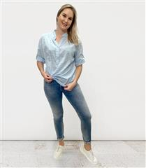 MADE IN ITALY LIGHT BLUE COTTON ANGLAISE SHIRT