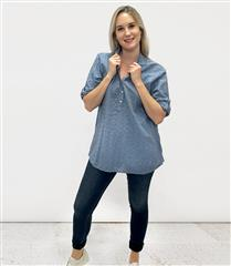 MADE IN ITALY DENIM COTTON ANGLAISE SHIRT