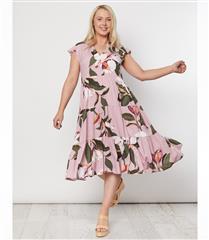 THREADZ PINK FLORAL PRINT DRESS