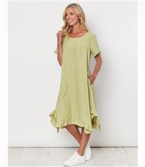 GORDON SMITH GREEN FRILLED HEM LINEN DRESS