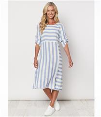 GORDON SMITH SKY BLUE STRIPE DRESS