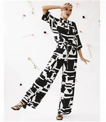 ME&B BLACK & WHITE GEO ELASTICATED PANTS