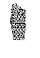 JOLIE BAM BAM BLACK WHITE PRINT OFF SHOULDER SHORT DRESS