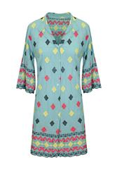MADE IN ITALY TEAL MULTI SHIRT DRESS