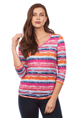 FRENCH DRESSING JEANS VISTA MULTI COLOUR STRIPE TOP