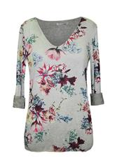 MADE IN ITALY OLIVE LONG SLEEVE FLOWER TOP