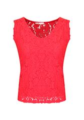 MADE IN ITALY RED SLEEVELESS LACE TOP