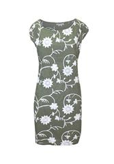 MADE IN ITALY KHAKI WHITE FLORAL DRESS