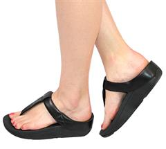 FIT FLOP BLACK LEATHER ADJUSTABLE SANDAL - MINA