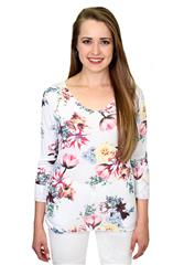 MADE IN ITALY WHITE LONG SLEEVE FLOWER TOP