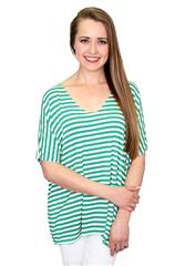 MADE IN ITALY GREEN STRIPE TEE