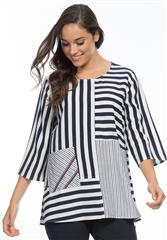 GORDON SMITH NAVY WHITE STRIPE TOP