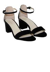 JOLIE EVENING SANDAL CLOSED BACK BLOCK HEEL - BLACK SUED