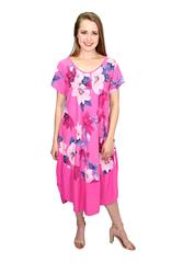 MADE IN ITALY PINK FLORAL ROUND NECK DRESS