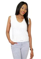 MADE IN ITALY WHITE SLEEVELESS LACE TOP