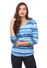FRENCH DRESSING JEANS BLUE MULTI STRIPE TOP - VISTA
