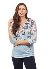 FRENCH DRESSING JEANS MULTI COLOUR BUTTERFLY BLOUSE