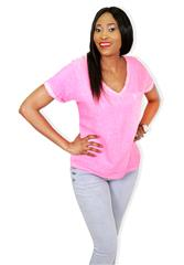 MADE IN ITALY HOT PINK DUO FABRIC TOP