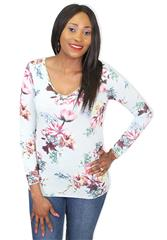 MADE IN ITALY TURQUOISE LONG SLEEVE FLOWER TOP