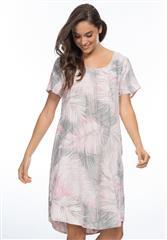 GORDON SMITH PALM PRINT PINK KHAKI LINEN DRESS