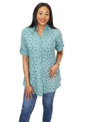 MADE IN ITALY TEAL-NAVY  BLOUSE